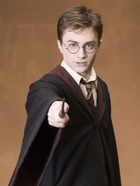 Harry Potter holding a wand