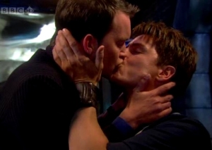 Jack and Ianto kissing on Torchwood