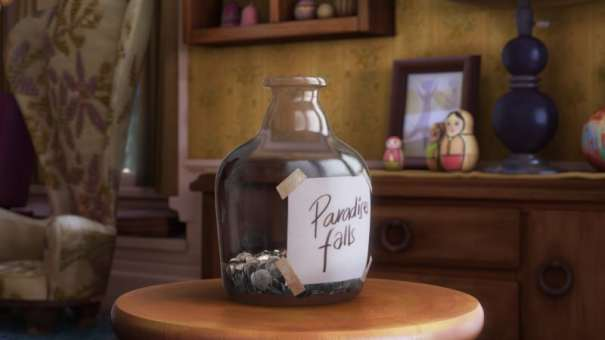"Change jar marked with ""Paradise Falls"" from the Pixar movie ""Up."""