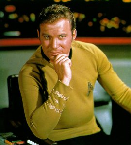 Captain Kirk, looking seductive.