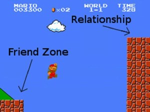 A still image from a SuperMario game where Mario is trying to jump from the Friend Zone to the (much higher) Relationship Zone.