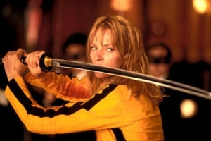 Uma Thurman from Kill Bill, holding a sword