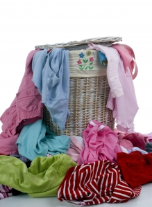 a basketful of dirty laundry