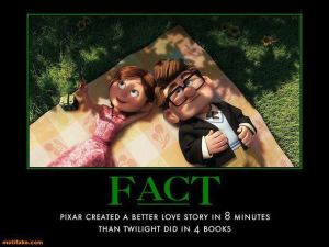 "Young couple from Pixar Movie ""Up"" lying on a blanket looking at the sky, with a caption ""Pixar created a better love story in 8 minutes than Twilight did in 4 books."""