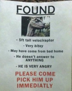 A flyer for a lost velociraptor, very bitey.