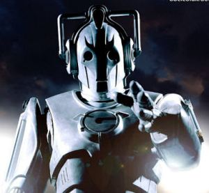 A cyberman from Dr. Who pointing at the camera.