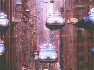 flying cars in the future city