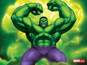 Hulk looking mean and mad.