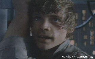 Luke Skywalker hanging off of Cloud City.