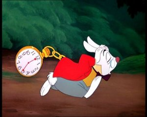 Alice In Wonderland's white rabbit looking stressed out and late! For a very important date!