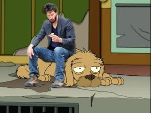Sad Keanu sits on Fry's dog