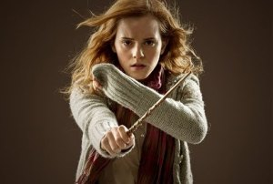 Hermione Granger with a wand.