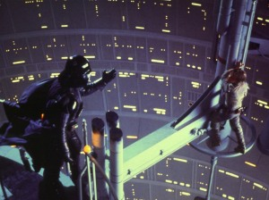 Darth Vader beckoning to Luke in Empire Strikes Back.