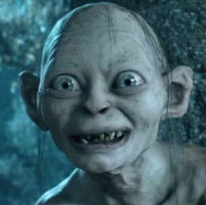 Smeagol looking scarily enthusiastic.