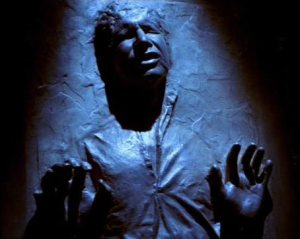 Han Solo encased in carbonite.