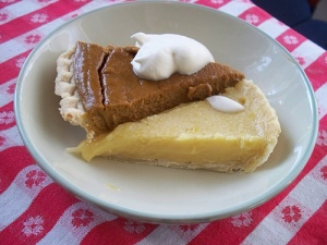 Pumpkin & Lemon Chess pie slices on a plate.