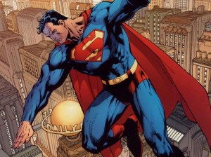 Superman flying above a city.