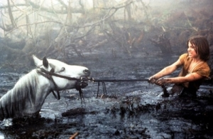 From The Neverending Story, Atreyu tries to pull Artax out of the swamp.