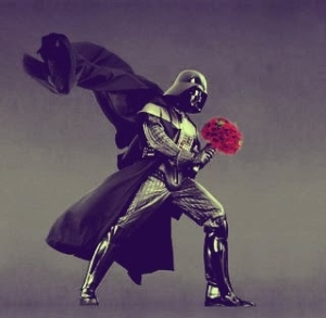 Darth Vader holding a bouquet of flowers.