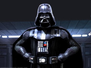Darth Vader, looking pleased with himself,