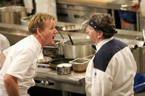 HELL'S KITCHEN: Chef Ramsay (L) screams at Tom (R) during dinner