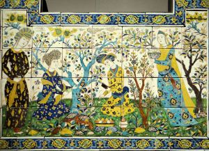 A ceramic tile depicting figures in a garden from 17th century Iran, Louvre, Paris, France