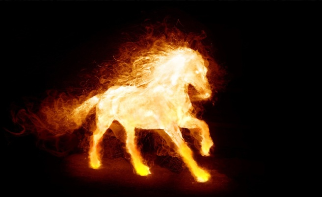 a horse shaped out of flames