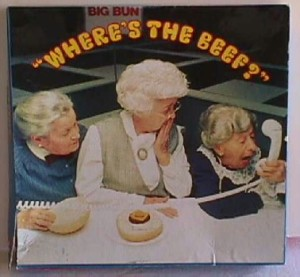 "Image from old ""Where's the Beef?"" Wendy's commercial. Three little old ladies yell ""Where's the beef?"" into a phone."