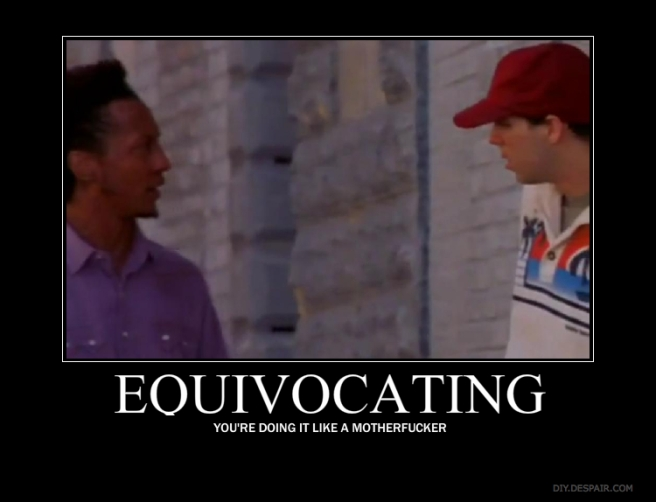 """Bubs and Johnny from the wire with the quote """"Equivocating: you're doing it like a motherfucker."""""""