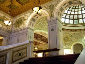 Interior shot of the Chicago Cultural Center