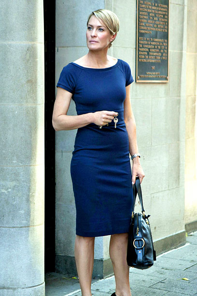 "Robin Wright as Claire Underwood from House of Cards, rocking some severe ""D.C. Important People"" style."