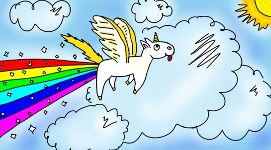 "Illustration by <a href=""http://funquisha.deviantart.com/art/Pegasus-Unicorn-thing-happily-pooping-a-rainbow-287366561"">Funquisha at Deviant Art</a>"