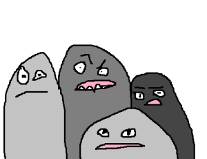 Image: Some grey blob monsters in various shades are looking suspicious and slightly outraged.