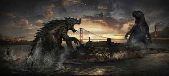 Illustration of Godzilla and another lizard battle over the Golden Gate bridge.