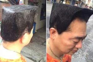 Taiwanese guy with lego head haircut