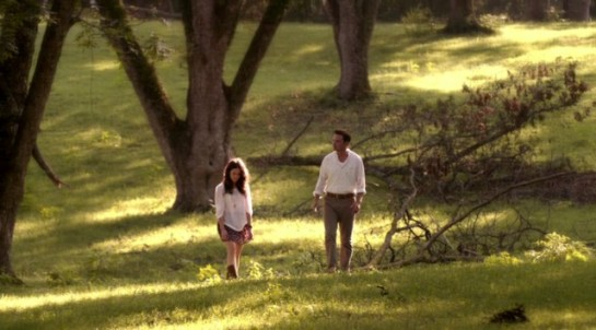 Amantha & Daniel walk in a field on Rectify