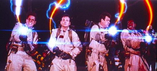 Ghostbusters shooting their plasma guns
