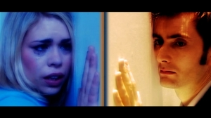 the doctor and rose, in separate dimensions, on the other side of a wall from each other, crying
