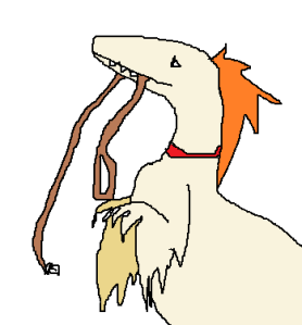 [image: a lovely little rageasaurus holding its leash in its mouth and begging for a walk.]