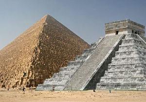 [image: a comparison photograph showing a Mayan stepped pyramid next to an Egyptian sloped pyramid.]