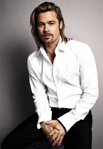 Brad Pitt in a white shirt