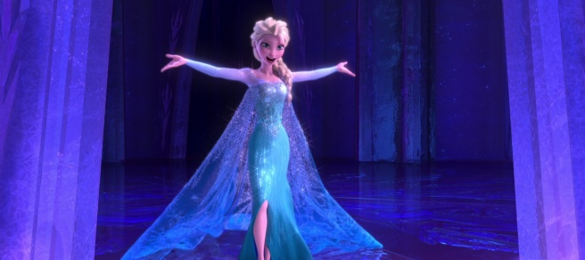 Elsa from Frozen, after she let it go.