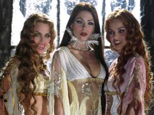 Dracula's Brides from Van Helsing, three women in fancy gowns and vampire makeup