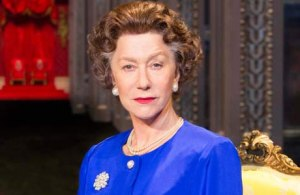 Helen Mirren as Queen Elizabeth II from The Queen, looking annoyed.