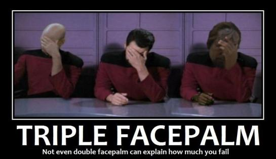 Picard, Whorf, and Riker with Facepalm
