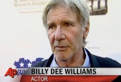 A picture of Harrison Ford labeled as Billy Dee Williams.