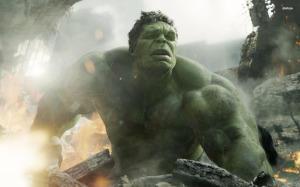 A still of the Hulk in a pile of rubble from The Avengers