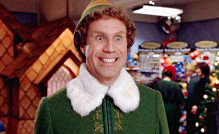 "Will Ferrell as ""Buddy"" from Elf looking extremely excited"