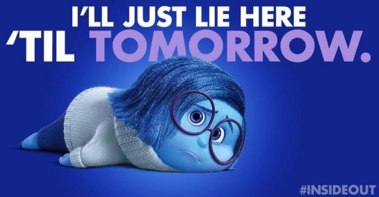 "Sadness from Inside Out lying on the floor with the text ""I'll just lie here until tomorrow."""