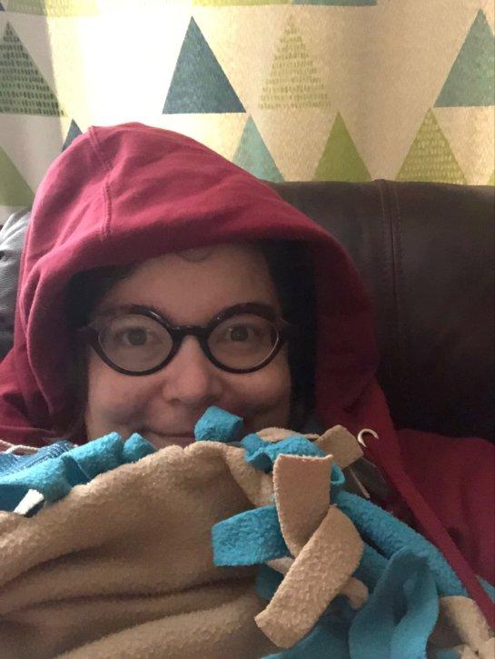 Captain Awkward in blankets
